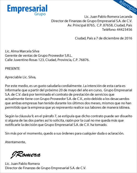 Carta de terminación de servicios de auditoría – Plantilla