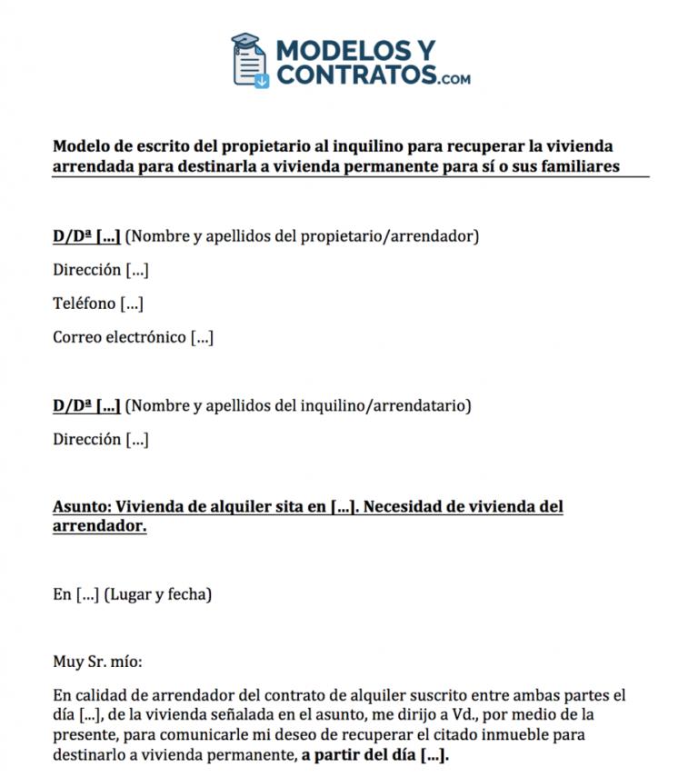 Muestra de carta de rescisión del contrato de arrendamiento al propietario